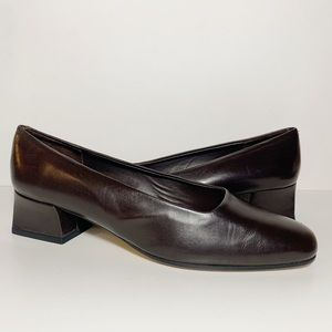 Vintage Sesto Meucci Dark Leather Chunky Heels